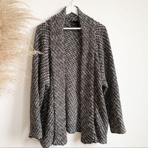 Zara Knit Black White Open Cardigan Size M